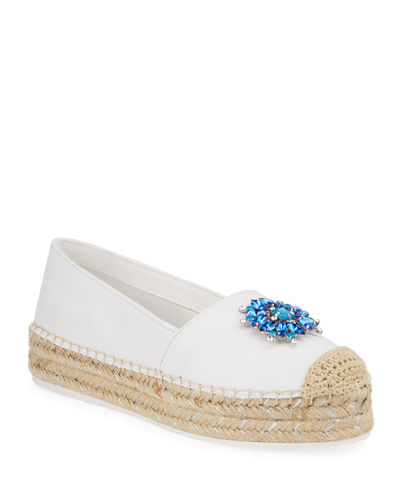 Anja Bejeweled Leather Espadrilles