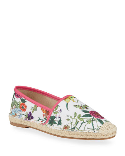 Floral-Embossed Canvas Espadrilles