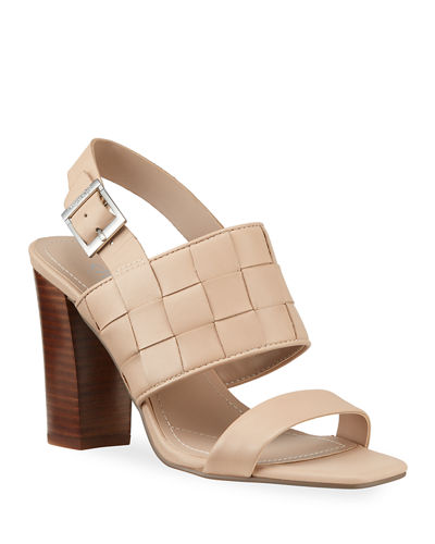 Maison Woven Leather Slingback Sandals