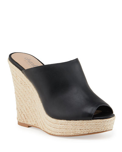 Andes Leather Wedge Espadrilles