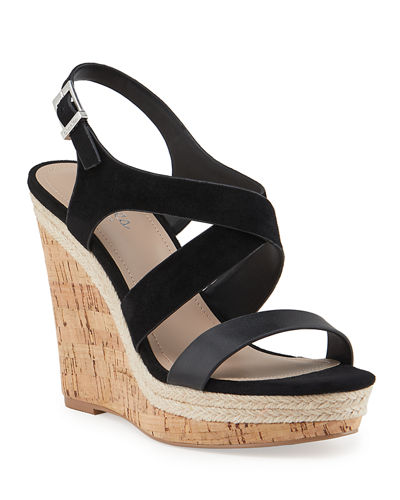 Aaliyah Strappy Cork Wedge Espadrilles