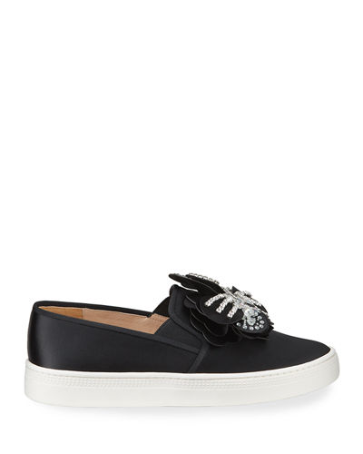 Izzy Embellished Satin Slip-On Sneakers