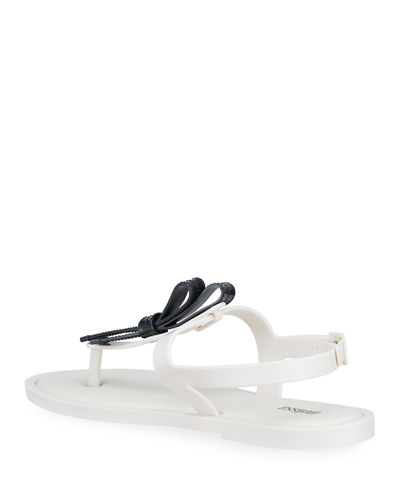 Slim Bow Slingback Thong Sandals