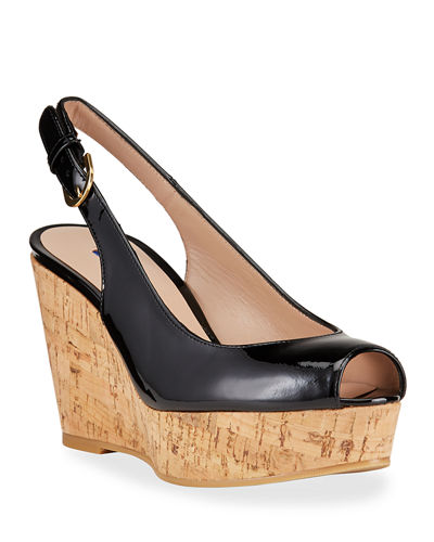 Jean Patent Leather Peep-Toe Cork Wedges