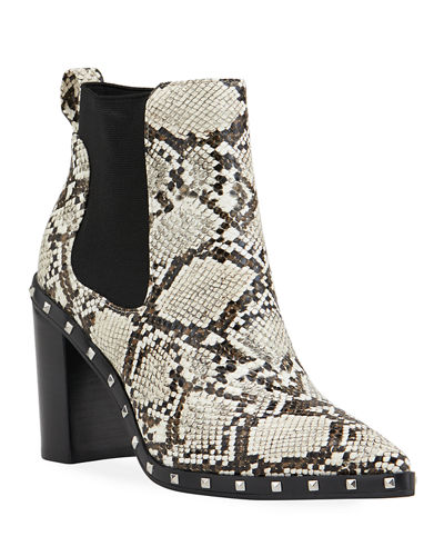 Charles by Charles David Dodger Studded Snake-Print Booties