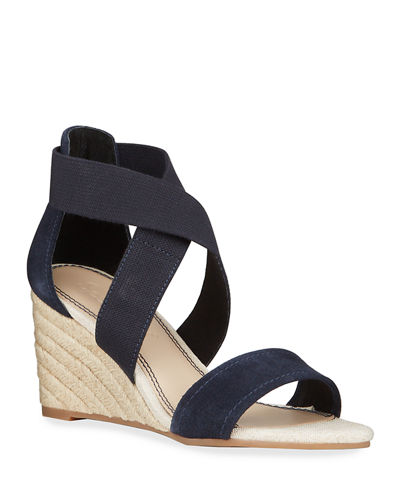 Muriel Crisscross Stretch Wedge Espadrilles