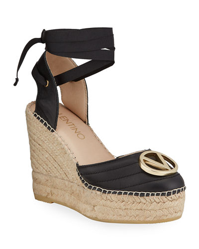 Roble Ribbon Ankle-Wrap Espadrille Wedge Sandals
