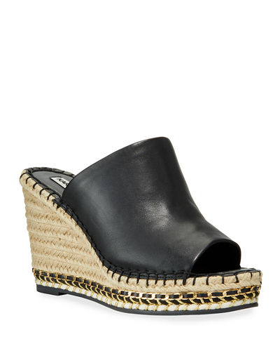Carina Metallic Leather Slide Wedge Espadrilles