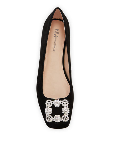 Crystal-Embellished Evening Ballerina Flats