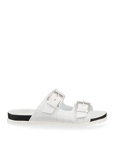 Lonnie Croc-Printed Leather Sandals
