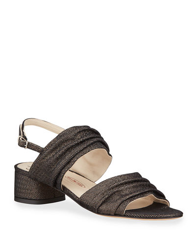 Amalfi by Rangoni Mario Shimmery Ruched Leather Sandals
