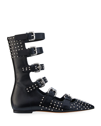 Studded Leather Gladiator Flats
