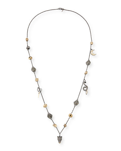 Alexis Bittar Mixed Crystal Charm Necklace, 38
