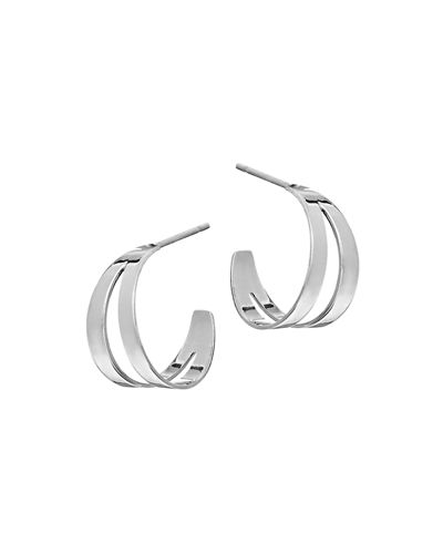 Double Flat Huggie Hoop Earrings