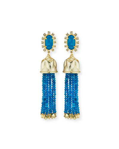 Decker Beaded Tassel Statement Earrings