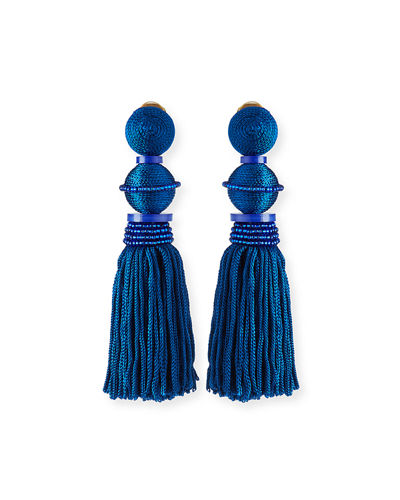 Threaded Ball & Tassel Drop Earrings
