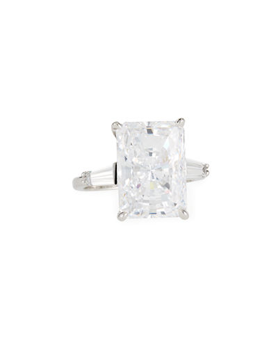 Emerald-Cut Canary Crystal Cocktail Ring