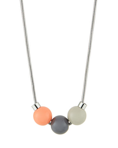Tricolor Bead-Drop Necklace