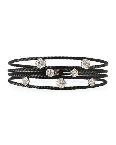 Diamond Geo-Station 4-Row Cable Bracelet