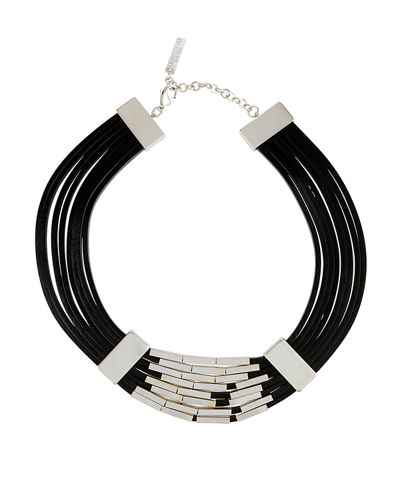 Multi-Strand Leather Choker Necklace