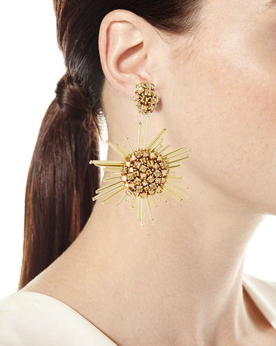 Fireball Drop Clip-On Earrings