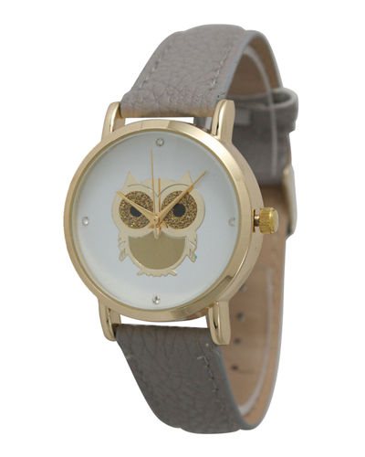 38mm Glittery Owl Watch w/ Leather Strap