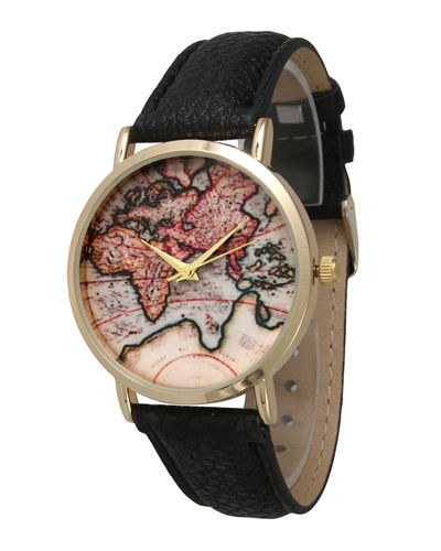 38mm Vintage Map Watch w/ Leather Strap