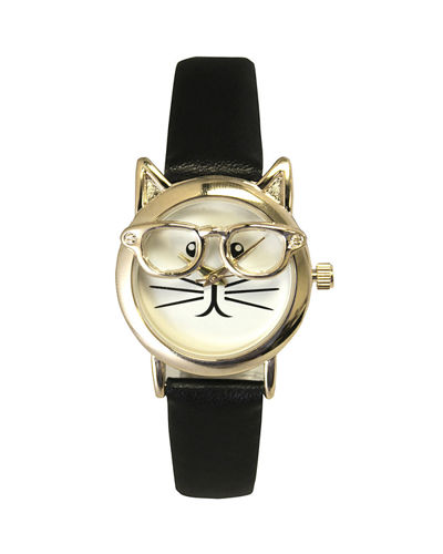 28mm Cat in Glasses Watch w/ Leather