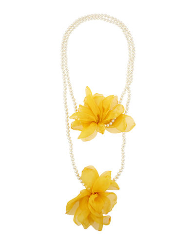 Long Pearly-Strand 2-Flower Necklace