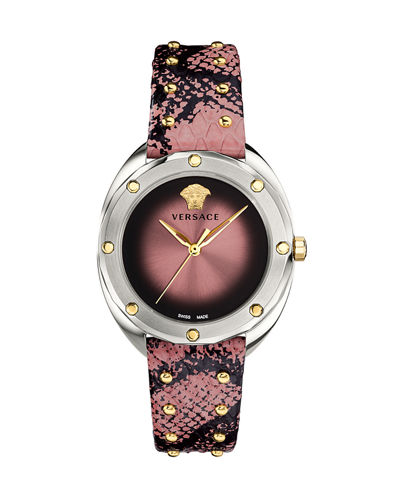 38mm Shadov Leather Watch  Steel/Pink