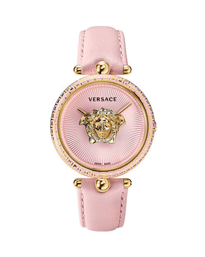 39mm Palazzo Empire Watch w/ Leather Strap  Gold/Pink