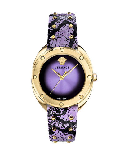 38mm Shadov Leather Watch  Gold/Purple