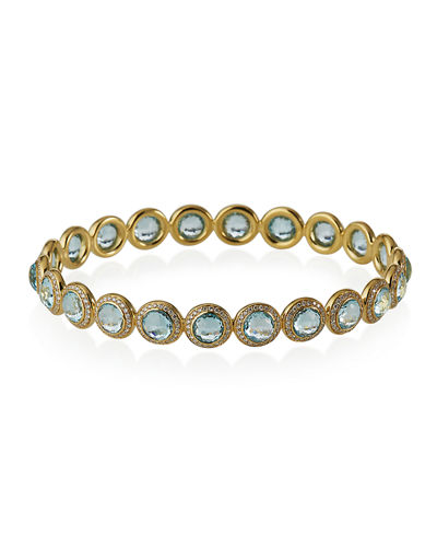 18K Lollipop Bangle in Blue Topaz with Diamond Pave