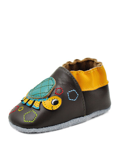 Soft-Sole Leather Baby Shoes with Turtle