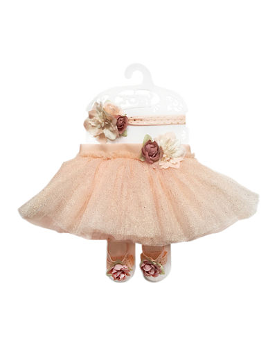 Floral Tutu  Headband & Sandals 3-Piece Baby Set