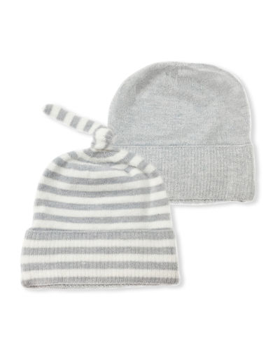 Stripe & Solid Beanie 2-Piece Set  Baby