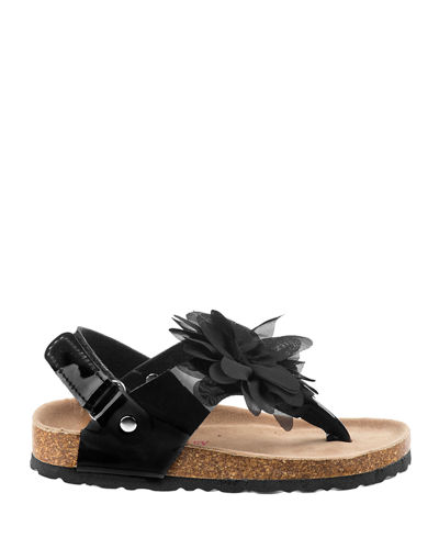 Patent Cork Flower Sandals, Toddler